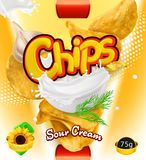 chip ziemniaka odosobnione white Kwaśnej śmietanki smak Projekt pakuje, wektorowy szablon ilustracji