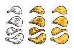 chip ziemniaka odosobnione white Wektorowy rytownictwo rocznik royalty ilustracja