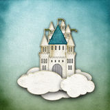Fairytale castle on clouds with blue background Stock Photos