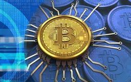 chipdiagram för bitcoin 3d Royaltyfria Bilder