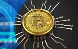 chipdiagram för bitcoin 3d Royaltyfri Bild