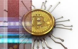 chipdiagram för bitcoin 3d Arkivbild