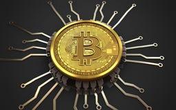chipdiagram för bitcoin 3d Royaltyfria Foton