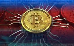 chipdiagram för bitcoin 3d Royaltyfri Foto