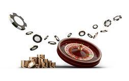 Chiper för kasinorouletthjul som isoleras på vit Modiga chiper 3D för kasino Online-kasinobaner Svart realistisk chip vektor illustrationer