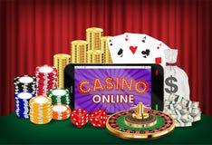 Chiper för roulett för kort för kasinoonline-smartphonetärning Fotografering för Bildbyråer