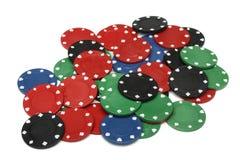 chiper som spelar lott över white Royaltyfria Foton