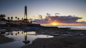 Chipiona Lighhouse på solnedgången Cadiz Spanien arkivfoto