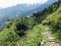 Chipla way - way through Marsyangdi river valley. Marsyangdi river valley - Annapurna Circuit trek in Nepal stock photography