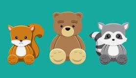 Chipmunk Bear Raccoon Doll Set Cartoon Vector Illustration Stock Photos