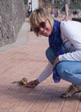 Chipmunk funny animal with Woman Stock Photos
