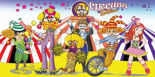 Chipmunks cartoon circus. A circus party toon a sample for circus cartoon magazine Stock Photo