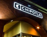 Chipolte墨西哥格栅标志 免版税库存照片