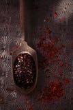Chipotle - καπνισμένες jalapeno νιφάδες και κόκκινο τσίλι - καυτά τσίλι pep Στοκ Εικόνες