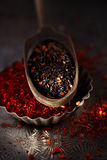 Chipotle - jalapeno smoked chili flakes and red hot chillies pep Royalty Free Stock Photos