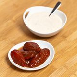 Chipotle Ranch Dressing. Smoked Chipotle peppers and Chipotle Ranch Dressing Stock Image