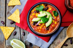 Chipotle red bean tortilla soup Royalty Free Stock Images