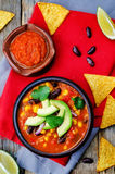 Chipotle red bean tortilla soup Stock Photography