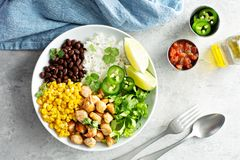 Chipotle spicy chicken with rice corn, beans royalty free stock image