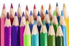 Chipped colored crayons on white background, close up Royalty Free Stock Photography
