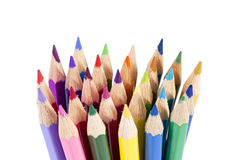 Chipped colored crayons on white background, close up Royalty Free Stock Photos