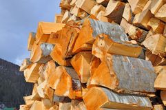 Chipped fire wood Royalty Free Stock Photography