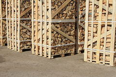 Chipped Fire Wood In Packing On Pallets Stock Photos