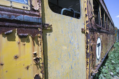 Chipped and rusting trolley car. Exterior of chipped and peeling trolley car abandoned in weeds Stock Photo