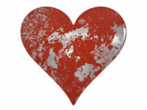 Chipped and Scratched Painted Metal Heart Stock Photography