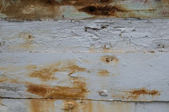 Chipped White Paint with Rust Background Stock Photography