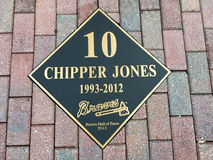 Chipper Jones Hall of Fame Plaque. Atlanta Braves slugger Chipper Jones plaque outside the entrance the Braves Museum Stock Images