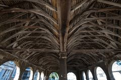 Chipping Campden, Gloucestershire, UK. Arches, ceiling and interior of Market Hall, historic arched building royalty free stock photography