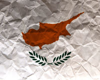 Chipre amarrotou a bandeira Textured papel - Fotografia de Stock Royalty Free
