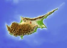 Chipre, mapa de relevo Ilustração Stock