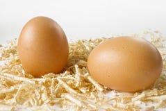 chips ägget över vitt trä Royaltyfria Bilder