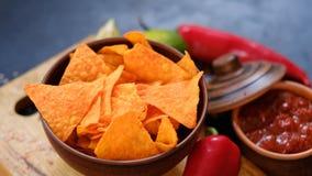 Chips épicés de casse-croûte de nourriture de bière de frite de nacho de tortilla photographie stock libre de droits