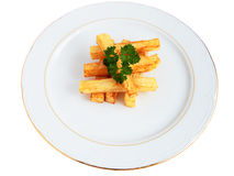 Chips. Plate of chips with form of swabs, and parsley cut off and isolated Royalty Free Stock Photography