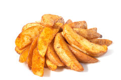 Chips. Fried slice potatos on white background Royalty Free Stock Photos