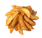 Chips. Fried crispy potatos isolated on white background Royalty Free Stock Images