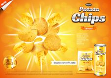 Chips ads. Cheese flavour explosion vector background. Chips ads. Cheese flavour explosion. 3d illustration and packaging stock illustration