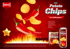 Chips ads. Hot chili pepper falling into fire vector background. Chips ads. Hot chili pepper falling into fire. 3d illustration and packaging Stock Photography