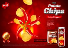 Chips ads. Hot chili pepper flavour vector background. Chips ads. Hot chili pepper flavour. 3d illustration and packaging vector illustration