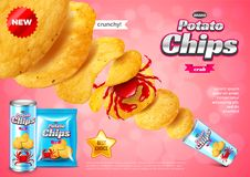 Chips ads. Pack explosion, crab flavour vector background. Chips ads. Pack explosion, crab flavour. 3d illustration and packaging stock illustration