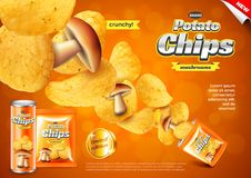 Chips ads. Pack explosion, mushrooms flavour vector background. Chips ads. Pack explosion, mushrooms flavour. 3d illustration and packaging royalty free illustration