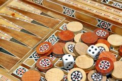 Chips and backgammon game board, XXXL Royalty Free Stock Images