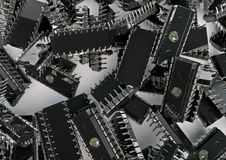 Chips background. 3D render of computer chips Stock Photography