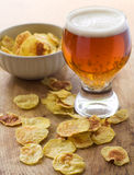 Chips and beer Royalty Free Stock Images