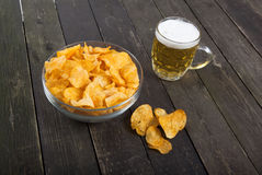 Chips and beer Royalty Free Stock Photos
