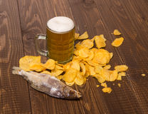 Chips with beer and fish Royalty Free Stock Photo