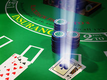 Chips and cards for blackjack royalty free stock photography